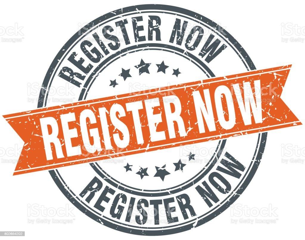 register now round grunge ribbon stamp vector art illustration