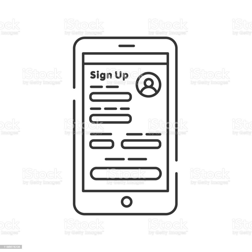 registrieren sie sich auf smartphonelinie schwarzes symbol konto erstellen onlineanmeldung vor ort dating stock vektor art und mehr bilder von argwohn istock diamant paket