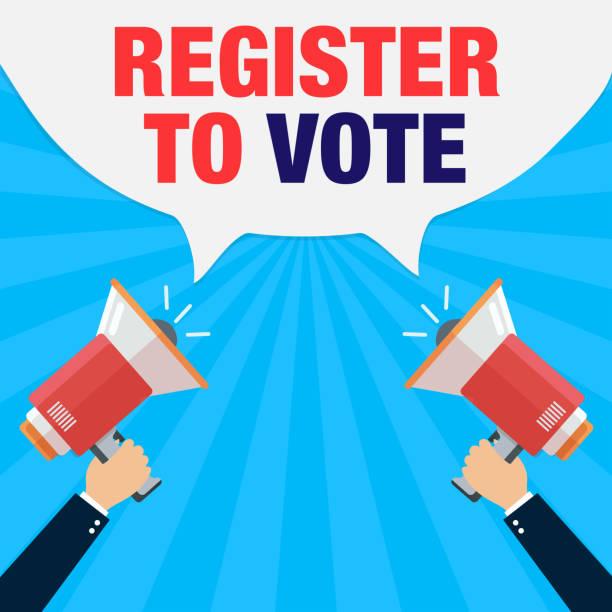 Register to Vote megaphone concept for election register stock illustrations