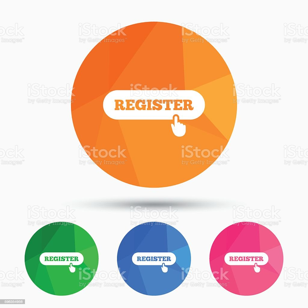 Register with hand pointer icon. Membership. royalty-free register with hand pointer icon membership stock vector art & more images of badge