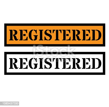 Registered sign on white background , typographic design