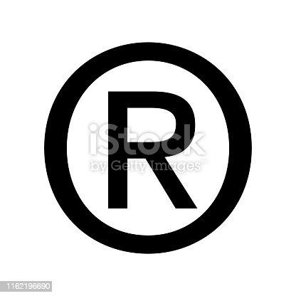 Registered symbol icon flat vector illustration design isolated on white background
