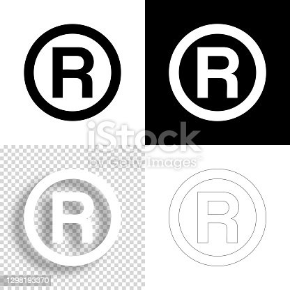 istock Registered trademark. Icon for design. Blank, white and black backgrounds - Line icon 1298193370