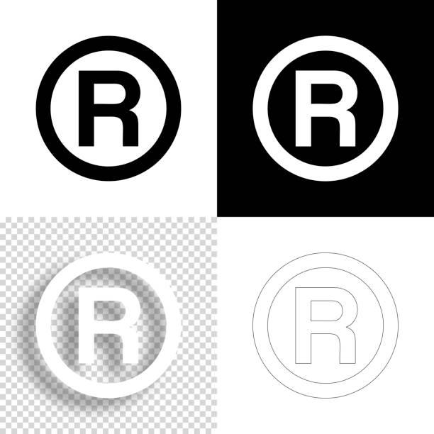 Registered trademark. Icon for design. Blank, white and black backgrounds - Line icon vector art illustration