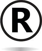 registered trademark icon on white background. registered trademark symbol.