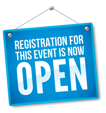 Registration For This Event Is Now Open Sign Stock Illustration - Download  Image Now - iStock