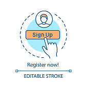 Registration form concept icon. Sign up idea thin line illustration. Web personal profile. Website contact form. Login, authorization tab. Vector isolated outline drawing. Editable stroke