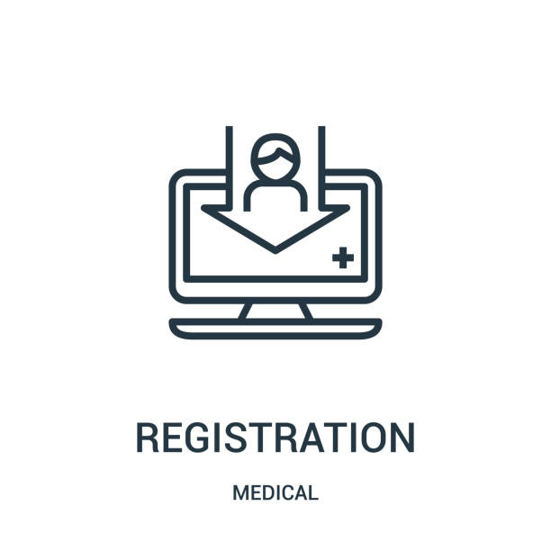 registration icon vector from medical collection. Thin line registration outline icon vector illustration. Linear symbol for use on web and mobile apps, logo, print media. registration icon vector from medical collection. Thin line registration outline icon vector illustration. Linear symbol for use on web and mobile apps, logo, print media. register stock illustrations