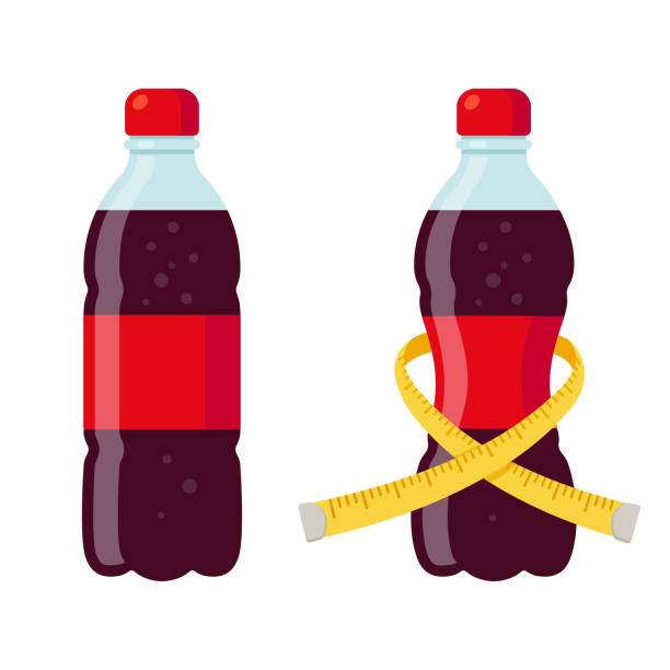 illustrazioni stock, clip art, cartoni animati e icone di tendenza di regular and diet soda - bottle soft drink