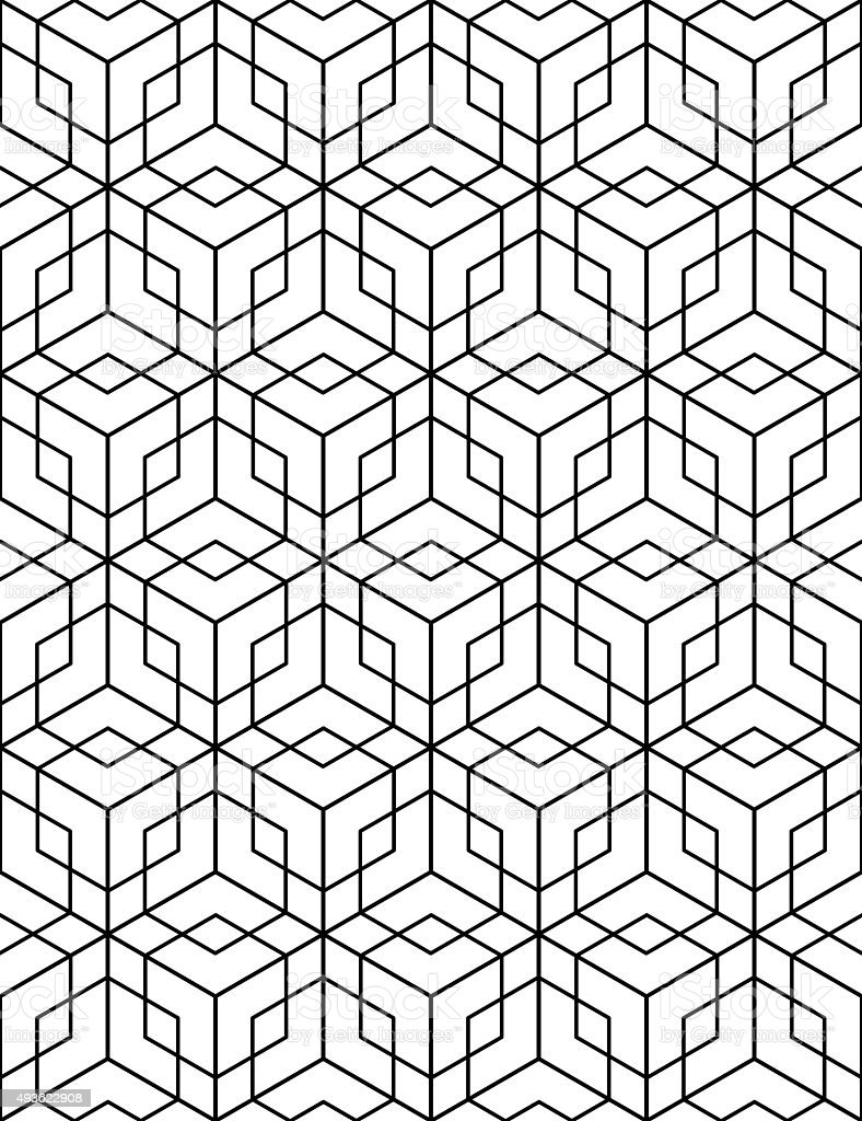 Regular contrast textured endless pattern with cubes, continuous vector art illustration