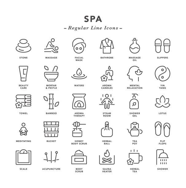 stockillustraties, clipart, cartoons en iconen met spa-reguliere lijn iconen - sauna