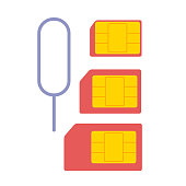 Regular nano micro sim card set. Mobile technology concept. Vector flat graphic design isolated illustration