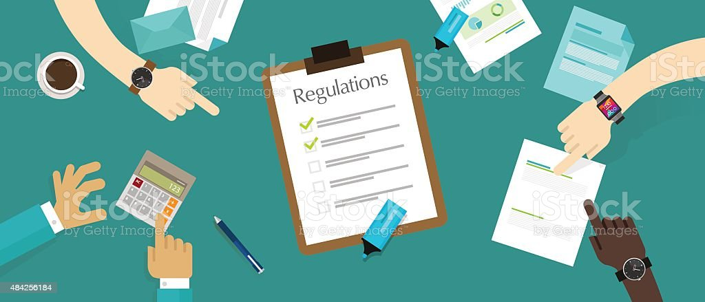 regulation law standard corporation document requirement vector art illustration