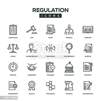 Regulation Line Icon Set