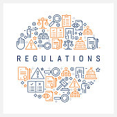 Regulations Concept - Colorful Line Icons, Arranged in Circle