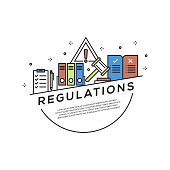 Regulations Concept Flat Line Icons