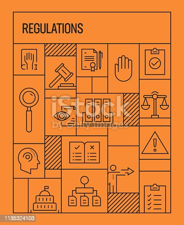Regulations Concept. Geometric Retro Style Banner and Poster Concept with Regulations Related Line Icons