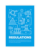 Regulations Concept Line Style Cover Design for Annual Report, Flyer, Brochure.