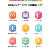 Regulations Icons Set on Gradient Background