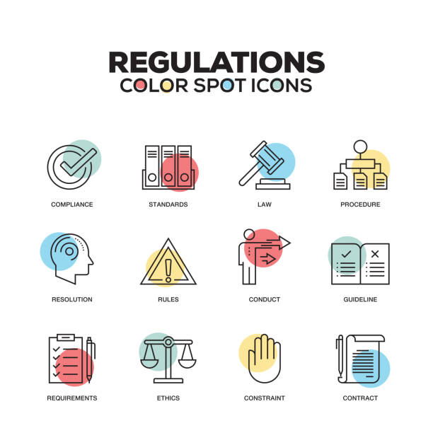 Regulations icons. Vector line icons set. Premium quality. Modern outline symbols and pictograms. Regulations icons. Vector line icons set. Premium quality. Modern outline symbols and pictograms. rules stock illustrations