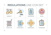 Regulations keywords with line icons