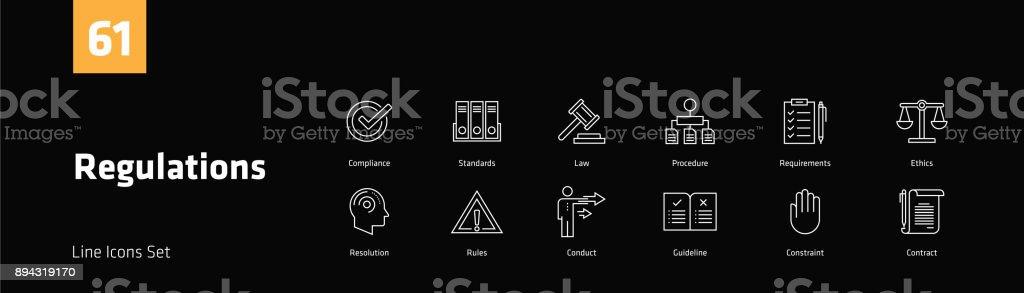 Vorschriften Linie Icons Set – Vektorgrafik