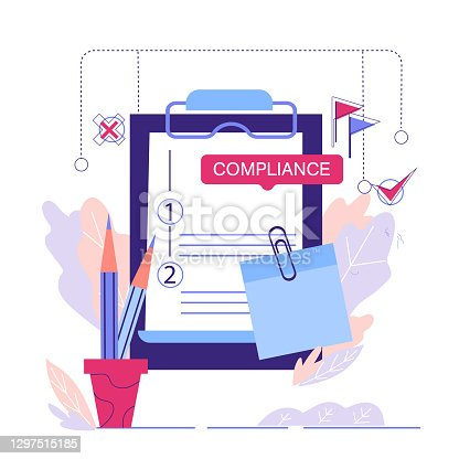 Regulatory compliance business concept, cartoon vector illustration isolated on white background. Legal compliance policy and regulatory of business.