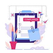 istock Regulatory compliance business concept, cartoon vector illustration isolated. 1297515185