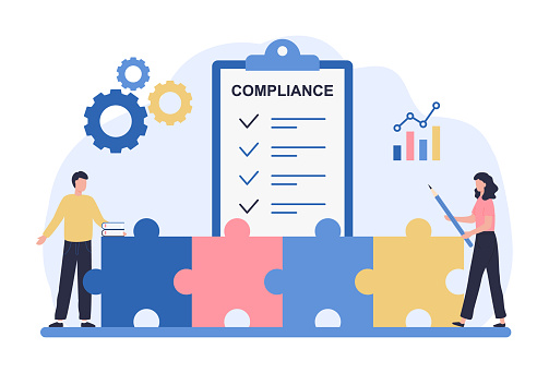 Regulatory compliance concept. Business people read laws, discuss changes, plan the implementation of rules and the development of the company. Flat vector illustration isolated on white background.