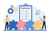 istock Regulatory compliance concept. Business people read laws, discuss changes, plan the implementation of rules and the development of the company. Flat vector illustration isolated on white background 1272084239