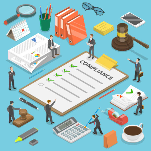 Regulatory compliance flat isometric vector concept. Regulatory compliance flat isometric vector concept. Businessmen are discussing steps to comply with relevant laws, policies, and regulations. rules stock illustrations