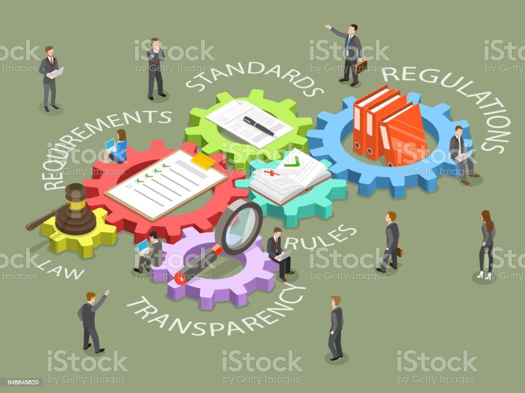 Einhaltung gesetzlicher Vorschriften flache isometrische Vektor. – Vektorgrafik