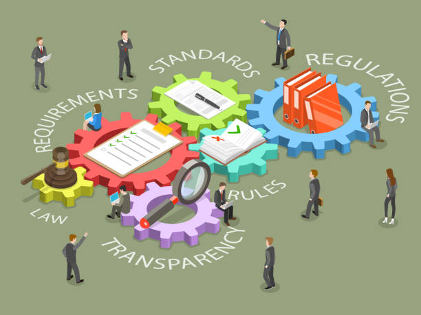 Regulatory compliance flat isometric vector. Regulatory compliance flat isometric vector concept. Business people are discussing steps to comply with relevant laws, policies, and regulations. government stock illustrations