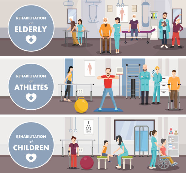 Rehabilitation center of eldery, athletes, children. Vector image. Rehabilitation centerof eldery athletes children. Vector image. Isometric banner. physical therapy stock illustrations
