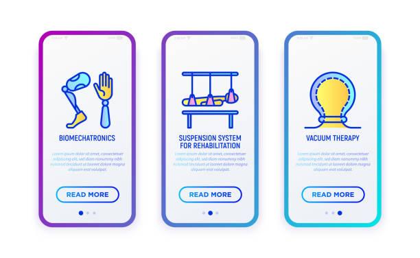 Rehabilitation für behinderte Dünnlinien-Icons Set: Biomechatronik, Suspensionssystem, Vakuumtherapie. Vektor-Illustration für mobile Benutzeroberfläche. – Vektorgrafik