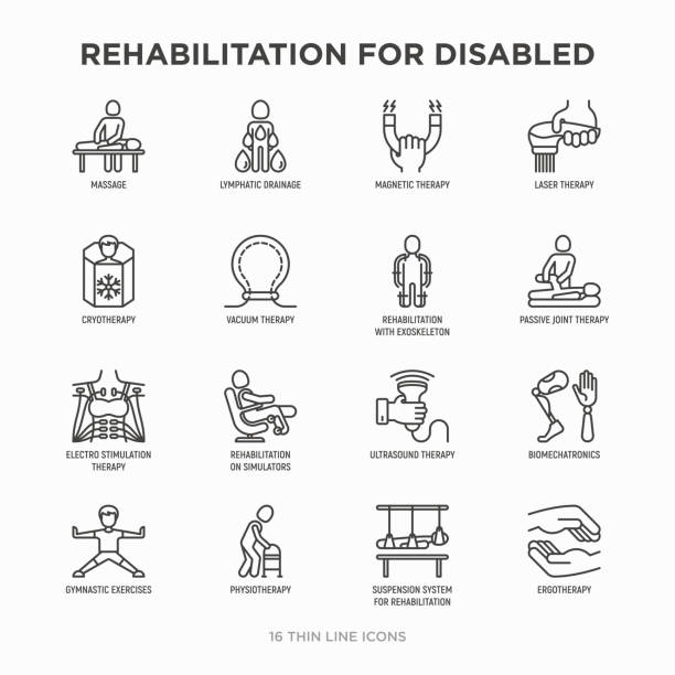 Rehabilitation for disabled thin line icons set: magnetic therapy, laser, massage, lymphatic drainage, exoskeleton, cryotherapy, physiotherapy, biomechatronics, suspension system, ergotherapy. Modern vector illustration. Rehabilitation for disabled thin line icons set: magnetic therapy, laser, massage, lymphatic drainage, exoskeleton, cryotherapy, physiotherapy, biomechatronics, suspension system. Vector illustration. physical therapy stock illustrations