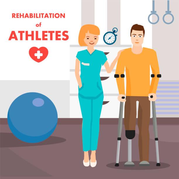 ilustraciones, imágenes clip art, dibujos animados e iconos de stock de rehabilitación para personas con pierna protésica - medicina del deporte