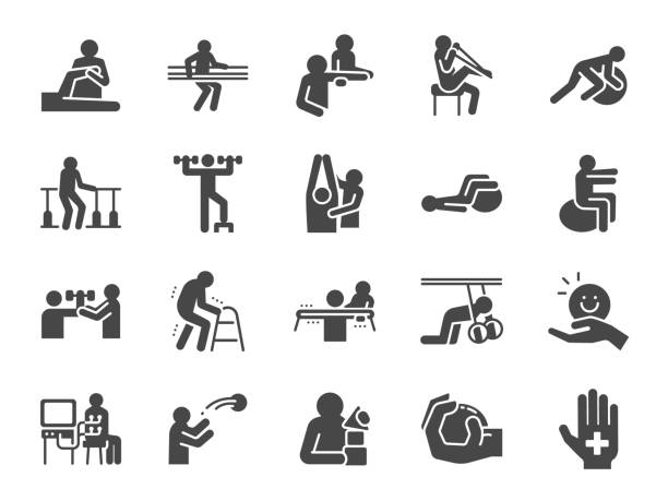 Rehabilitation icon set. Included icons as recovery, Physical therapy, Nursing Home, therapist, hospital, physiology and more. Rehabilitation icon set. Included icons as recovery, Physical therapy, Nursing Home, therapist, hospital, physiology and more. physical therapy stock illustrations