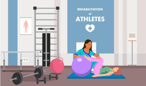 ilustraciones, imágenes clip art, dibujos animados e iconos de stock de rehabilitación en física gimnasio clase anuncios - medicina del deporte