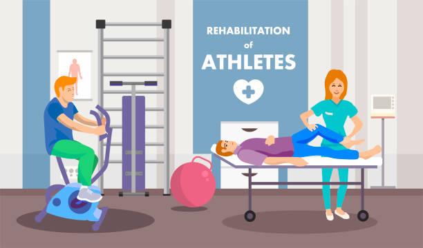 ilustraciones, imágenes clip art, dibujos animados e iconos de stock de programa de rehabilitación después del anuncio de lesión - medicina del deporte