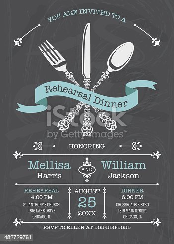 Stylized lacy fork, knife, and spoon with banner. Chalkboard Background. Great for any Dinner Party. Please note: It is prohibited to use this on: Online