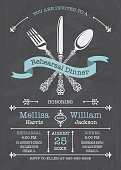 """Stylized lacy fork, knife, and spoon with banner. Chalkboard Background. Great for any Dinner Party. Please note: It is prohibited to use this on: Online """"print-on-demand"""" products."""