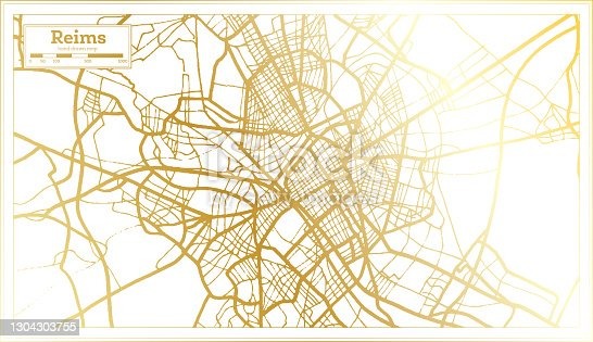 istock Reims France City Map in Retro Style in Golden Color. 1304303755