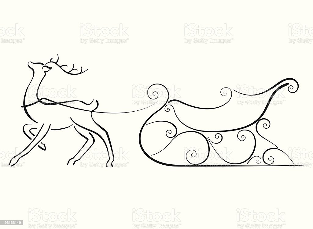 Line Drawing Reindeer : Reindeer and sleigh stock vector art more images of