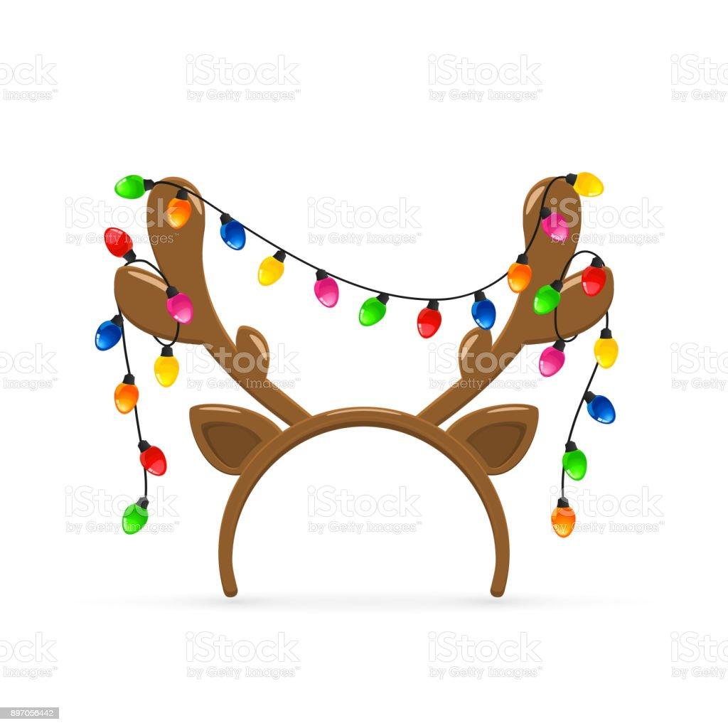 Reindeer antlers with Christmas lights on white background vector art illustration