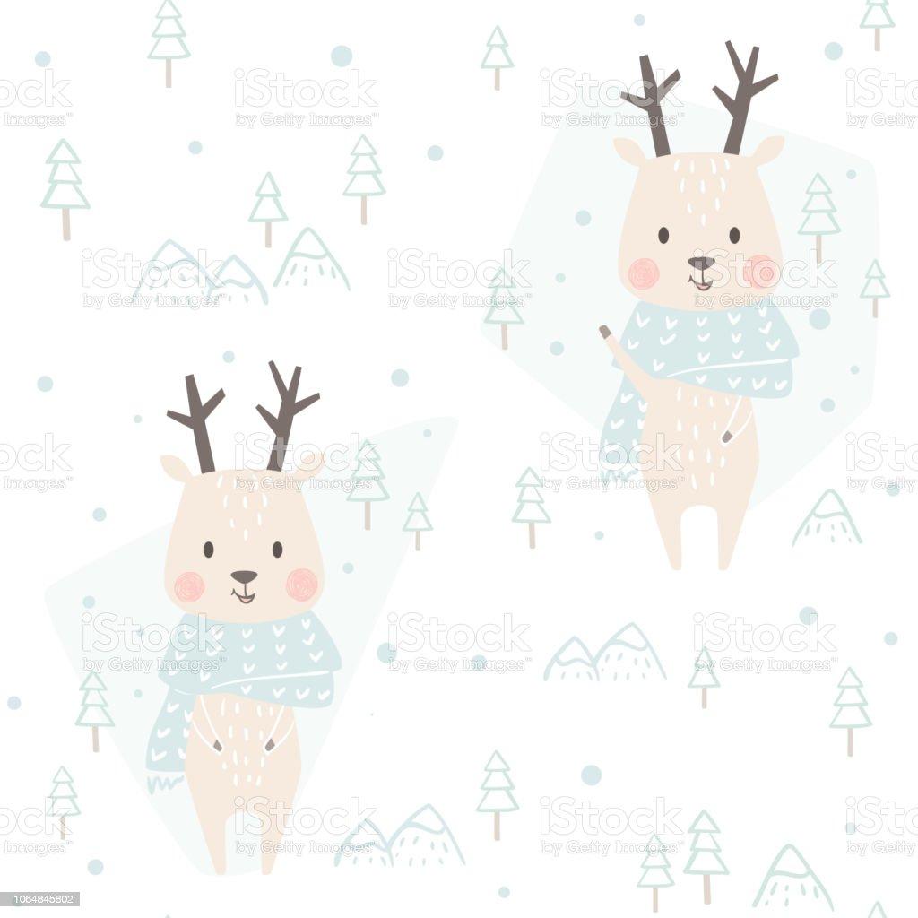 Ilustración de Reno Bebé Patrones Sin Fisuras De Invierno Animal ...