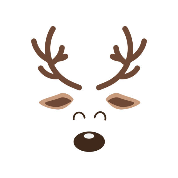 Reindeer big nose cute close up face isolated white background. Christmas card Reindeer big nose cute close up face isolated white background. Christmas card reindeer stock illustrations