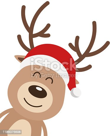 Reindeer cute smile cartoon with santa hat isolated white background. Christmas card