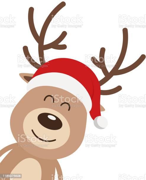 Rendeer Niedlichlächeln Cartoon Mit Santa Hut Isoliert Weißen Hintergrund Weihnachtskarte Stock Vektor Art und mehr Bilder von Braun