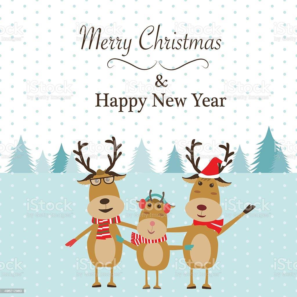 Buon Natale Famiglia.Renna Famiglia Buon Natale Banner Vector Illustrazione Eps1